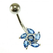 Blue Sapphire CZ Ball of Fire Silver Belly Button Navel Ring, f3