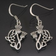 Celtic Knot Thistle Silver Earrings, ep293