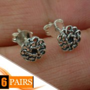 6pairs, Round Celtic Knot Silver Stud Earrings, ep258