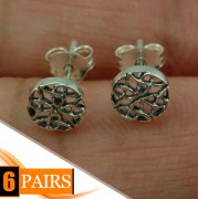 6pairs, Round Celtic Silver Stud Earrings, ep296