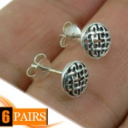 6pairs, Round Celtic Knot Stud Silver Earrings, ep297