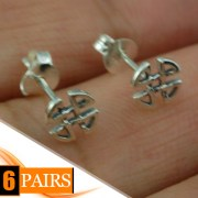 6pairs, Celtic Knot Silver Stud Earrings, ep298