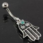 Hamsa Belly Button Navel Ring w Turquoise 316L Stainless & Silve