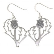 Large Plain Silver Thistle Earrings, ep292