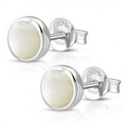 Mother of Pearl Round Silver Earrings - e365