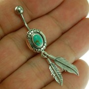 Native American Belly Navel Ring w Turquoise 316L & Silver f298