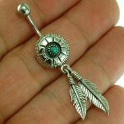 Native American Belly Navel Ring w Turquoise 316L & Silver, f303