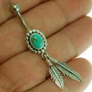 Native American Turquoise Belly Button Ring 316L & Silver, f301