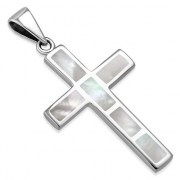 Mother of Pearl Silver Cross Pendant, p532