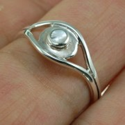 Evil Eye Silver Mother of Pearl Ring, r571