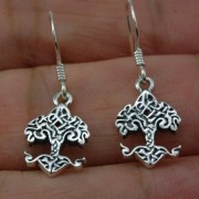 Tiny Celtic Knot tree of Life Silver Earrings, ep300