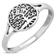 Tree of Life Plain Silver Ring - rp869